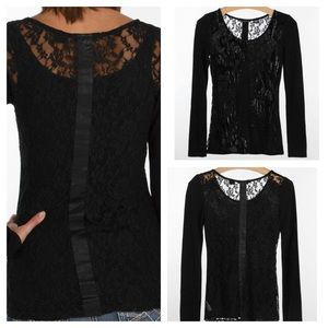 Miss Me Black lace embellished long Sleeve Shirt